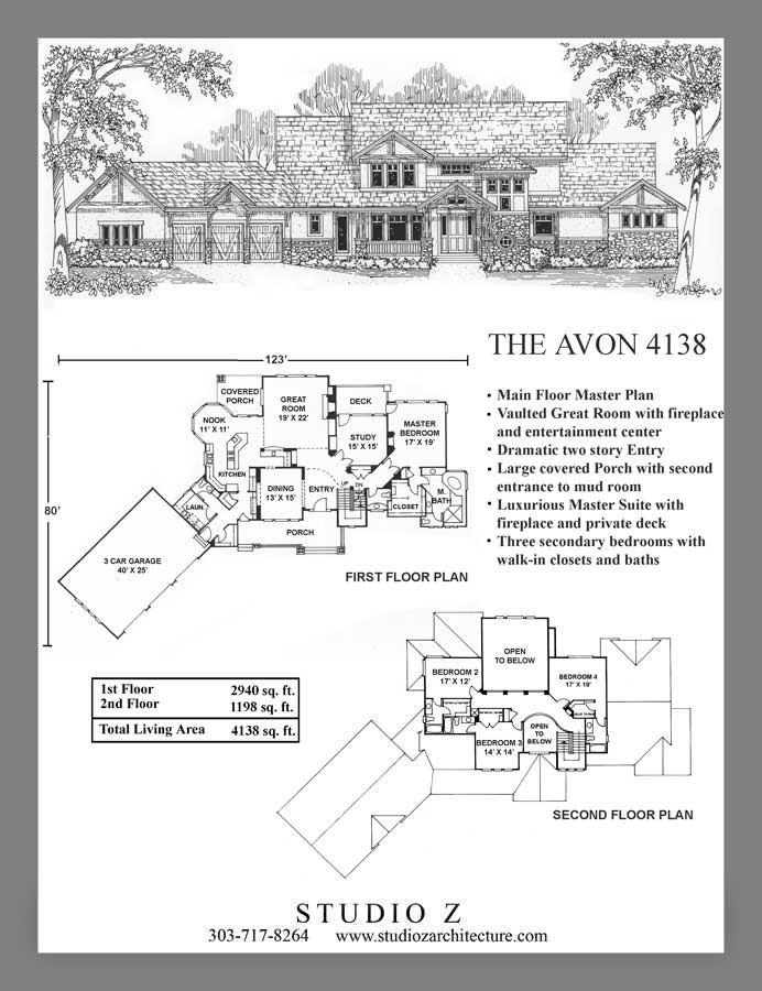 Studio Z Architecture Master On Main Floor Plans Custom